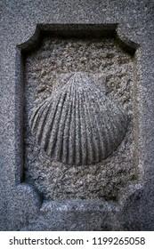 Camino Santiago stone shell sign in Combarro Way of Saint James Pontevedra Galicia Spain