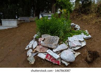 Camlibel Village, Edremit, Balikesir / Turkey - July 14 2019: Actor Tuncel Kurtiz's grave