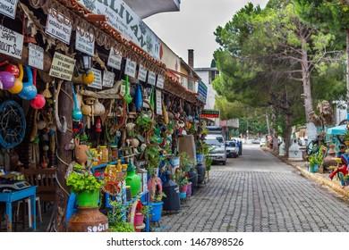 Camlibel Village, Edremit, Balikesir / Turkey - July 14 2019: A touristic shop in Camlibel Village