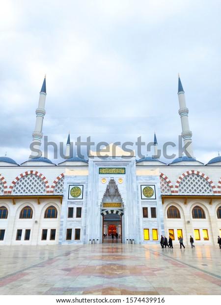 Camlica mosque (Turkish: Çamlıca Camii) symmetrical front view. Uskudar, Istanbul / Turkey - November 29, 2019