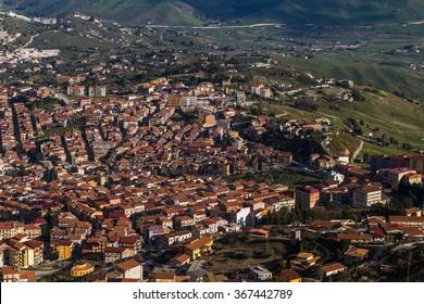 CAMMARATA, ITALY - JANUARY 24 2016: City of Cammarata in Central Sicily. Mediterranean Medieval City, built in the mountain of Cammarata