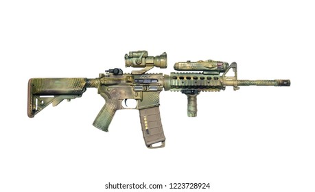 Camo painted carbine isolated on a white background