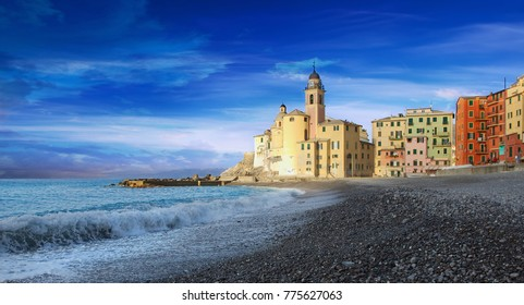 Camogli church and beach - Ligurian sea- Italy