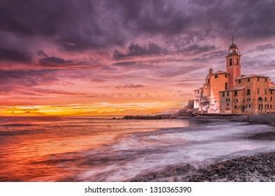 camogli colorful sunset