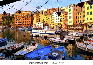 Camogli (GE), Italy 15.03.2017. Detail of  harbour with fishing boats and fishermans trough net in the old village of Camogli, Gulf of Paradise, Portofino National Park, Genova, Liguria, Italy
