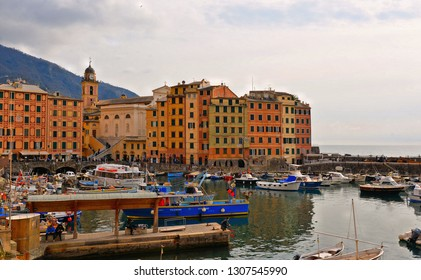 Camogli (GE), Italy 15.03.2017. Detail of  harbour with fishing boats and fishermans in the old village of Camogli, Gulf of Paradise, Portofino National Park, Genova, Liguria, Italy