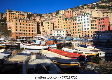 Camogli (GE), Italy - June 01, 2017: Camogli's harbour in the fishing village of Camogli, Gulf of Paradise, Portofino National Park, Genova, Liguria, Italy
