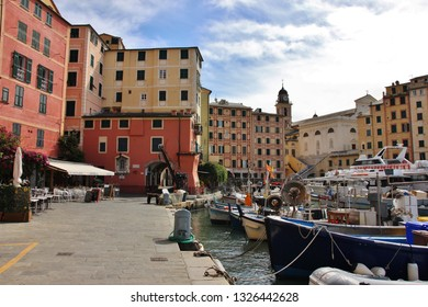 Camogli, Genoa, Italy - September 19 2019: Camogli harbor and its colorful buildings