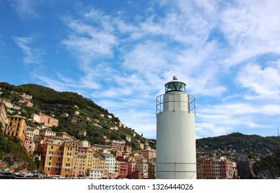 Camogli, Genoa, Italy - September 19 2019: Camogli harbor and lighthouse