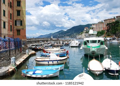Camogli, Genova, Liguria / Italy - June 14 2018: Harbor of Camogli.