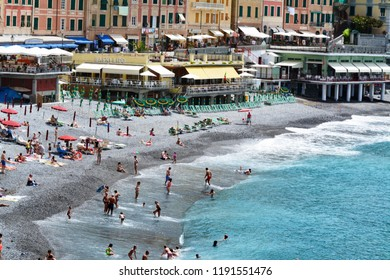 Camogli, Genova, Liguria / Italy - June 14 2018: Beach of Camogli.