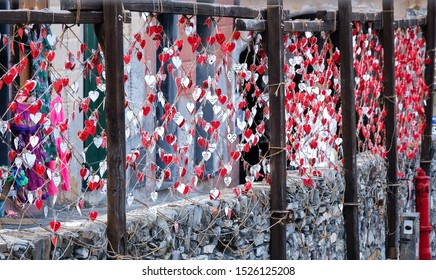 Camogli, Genova, Liguria / Italy - June 12 2019: Decoration with a lot of heart at the harbor of Camogli.