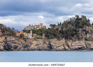 Camogli, Italy. 04-29-2019. Coastline near Camogli. Liguria. Italy.