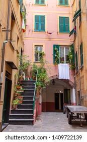 Camogli, Italy. 04-29-2019. Colored houses at Camogli. Liguria.