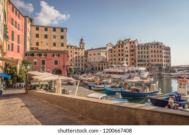 Camogli - Italy - 09/21/2018 - The fishing port and the seafront of Camogli