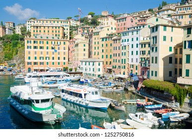 CAMOGLI, ITALY. 21st October 2018. The harbour in Camogli is thronged with tourist boats, even in the early Autumn.