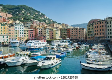 CAMOGLI, ITALY. 21st October 2018. The harbour at Camogli is the embarkation point for the many tourist boat trips that leave throughout the Summer.