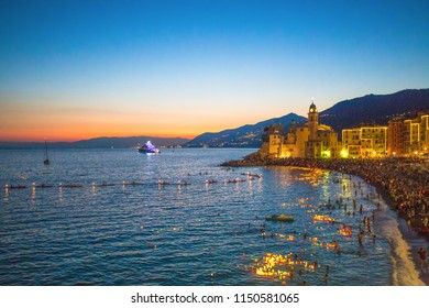 CAMOGLI, ITALY, AUGUST 2 ,2015 - Stella Maris traditional celebration. During the night when thousands of tiny lit candles are left on the water in Camogli, Genoa (Genova) province, Italy.