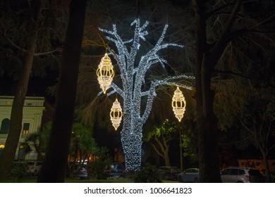 CAMOGLI, ITALY, JANUARY 13, 2018 - Illuminated tree in a public park at Christmas time, Italy