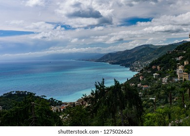 Camogli, Italy - July 7 2017: The landscape view of Camogli and the ocean from the mountaintop.