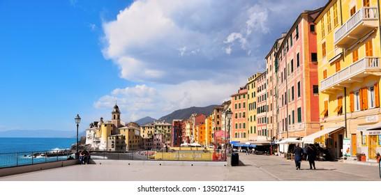CAMOGLI ITALY - MARCH 11 the promenade and the characteristic colored houses March 11, 2019, Camogli, Italy