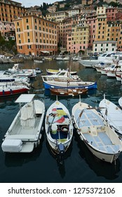 Camogli, Italy - October 09, 2015 Camogli, the pearl of the Ligurian Sea, with its romantic corners, the harbor, the boats and the horizon on the sea