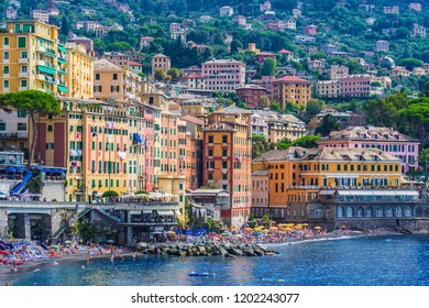 CAMOGLI, ITALY - SEP 9, 2018: The tourist resort of Camogli on the Italian Riviera in the Metropolitan City of Genoa, Liguria, Italy