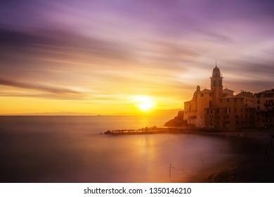 CAMOGLI, ITALY - View of city of Camogli at sunset , Genoa (Genova) Province, Liguria, Mediterranean coast, Italy