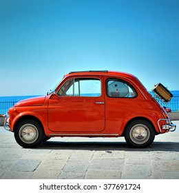 Camogli, Liguria, Italy - September 20, 2015: Festival Fiat 500 Rally organizers the Fiat 500 Club Genova Levante Italy.The participants created a tour of the city east with Fiat 500 Nuova