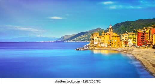 Camogli old church on sea and beach view. Liguria, Italy. Long Exposure.