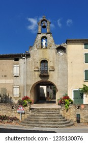 CAMON, ARIEGE, FRANCE - September 10, 2018. The Porte de l'Horloge or Clock Gate in the fortified village of Camon, Ariege, Occitanie, France