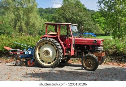 CAMON, ARIEGE, FRANCE - September 10, 2018. Old Massey Ferguson 165 tractor, Camon, Ariege, Occitanie, France