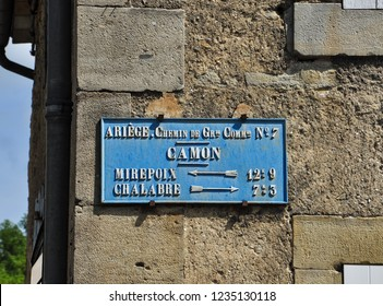CAMON, ARIEGE, FRANCE - September 10, 2018. Old style distance sign, Camon, Ariege, Occitanie, France