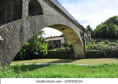 CAMON, ARIEGE, FRANCE - September 10, 2018. Former railway bridge over the River Hers, Camon, Ariege, Occitanie, France
