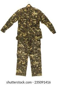Camouflage jacket and pants isolated on white background