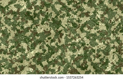 Camouflage military texture background covered with water. Abstract army and hunting masking ornament. Unique camouflage for your production or design. Camouflage Texture Army Background.