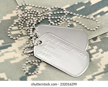 Camouflage uniform with dog tags