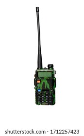 Camouflage walkie talkie stand on a white background.Portable communication device. Transmitter of radio signals. Convenient to use in the mountains.