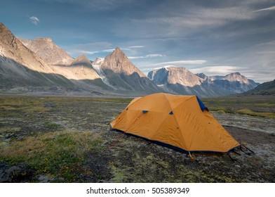 Camp 1 on the way to Mt Thor, Nunavut, Canada.