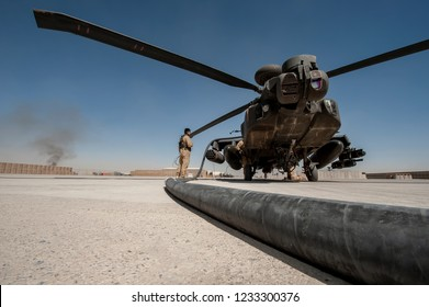 Camp Bastion, Helmand Province, Afghanistan- Circa 2010 :  during   Operation Herrick AH 64 Longbow Apache attack helicopter  British Army Air Corp