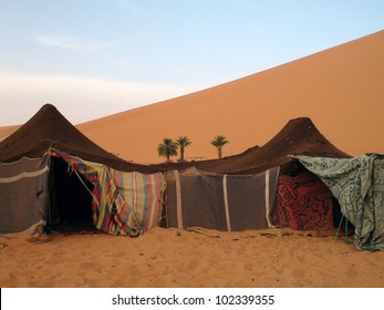 Camp of bedoin tents in Erg Chebbi in Morocco