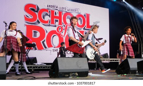 Camp Bestival - 29h July, 2017: British child  cast of Andrew Lloyd Webber's School of Rock musical performing at Camp Bestival, Lulworth, Dorset 29 July 2017, UK