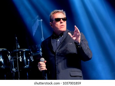 Camp Bestival - 29th July, 2017: Lead singer Graham McPherson aka Suggs with British ska band Madness performing at Camp Bestival, Lulworth, Dorset 29 July 2017, UK