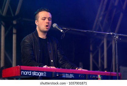 Camp Bestival - 29th July, 2017: Male keyboard player with British singer songwriter Alice Jemima performing at Camp Bestival, Lulworth, Dorset 29 July 2017, UK