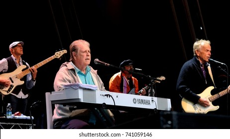 Camp Bestival -  29th July, 2017:  Former singer with American 60s band the Beach Boys Brian Wilson performing Pet Sounds with Al Jardine at Camp Bestival, Lulworth, Dorset 29 July 2017, UK