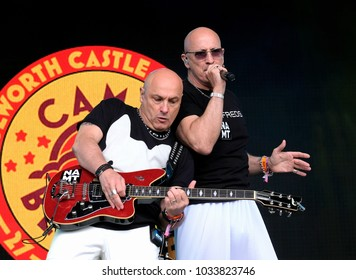 Camp Bestival - 30th July, 2017:  Brothers Richard and Fred  Fairbrass  with British duo Right Said Fred performing at Camp Bestival, Lulworth, Dorset 30 July 2017, UK