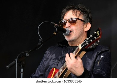 Camp Bestival -30th July, 2017: Ian Broudie lead singer with British band Lightning Seeds  performing at Camp Bestival, Lulworth, Dorset 30 July 2017, UK