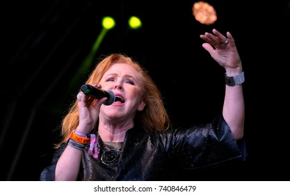 Camp Bestival - July 28 2017: Carol Decker, lead singer with British pop band T'Pau performing at Camp Bestival, Lulworth, Dorset, July 28th,  2017 in Dorset, UK