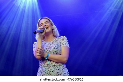Camp Bestival - July 31 2016: Essex-born  British singer Anne-Marie Nicholson performing at Camp Bestival, Lulworth, Dorset, July 31st 2016 in Dorset, UK