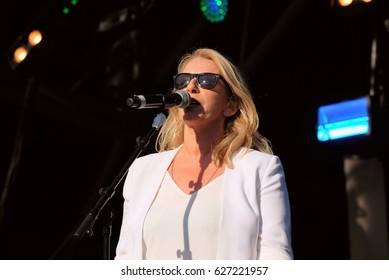 Camp Bestival - July 31 2016: Sara Dallin singer with British new wave girl band Bananarama performing at Camp Bestival, Lulworth, Dorset, July 31st 2016 in Dorset, UK